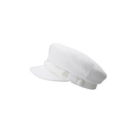 New Abby, casquette officier en coton matelassé blanc et brillant. - Blanc - Accessoires - Maison Michel Paris