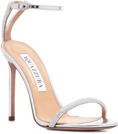 Moon Crystal Embellished Ankle Strap Sandal