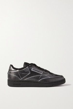 Maison Margiela Project 0 Club C Printed Leather Sneakers - Black