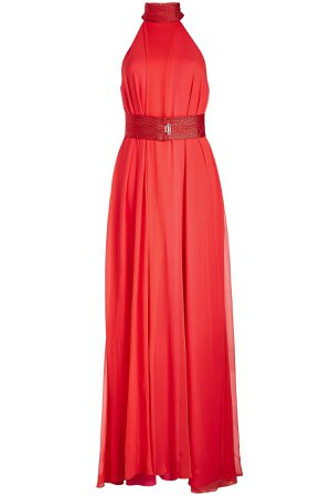 Flamingo Silk Chiffon Dress Gr. FR 36