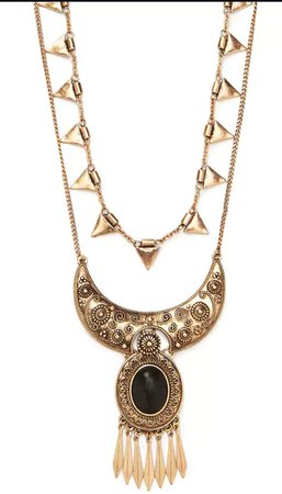 Black Gem Gold Necklace
