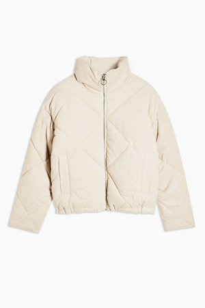 Ecru Corduroy Puffer Jacket | Topshop