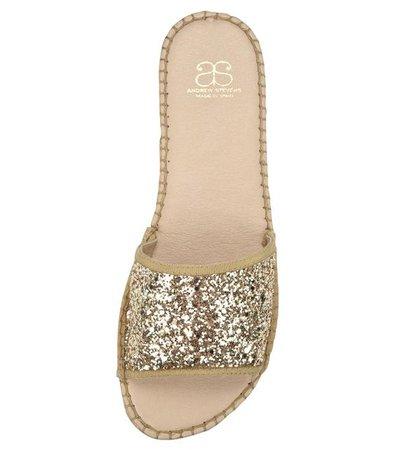 Candice Gold Glitter Slide Espadrille Sandal – Andrew Stevens Footwear