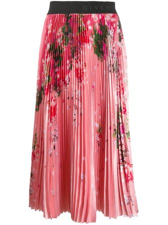 Shop pink Givenchy floral print pleated skirt with Express Delivery - Farfetch