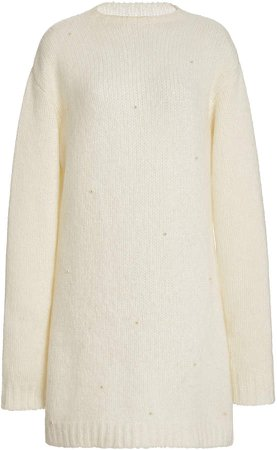 Markarian Pearl-Embellished Cashmere Sweater Dress