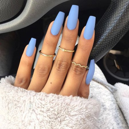 Light Blue Coffin Nails