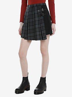 Black & Grey Plaid Buckle Asymmetrical Pleated Skirt