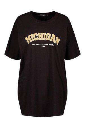 Oversized Michigan Slogan Boyfriend T-Shirt   boohoo