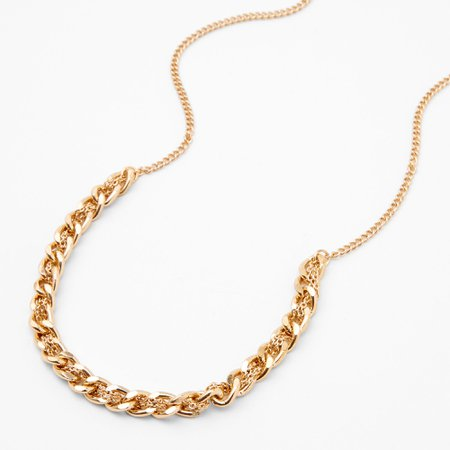 Gold Braided Chain Link Necklace | Claire's US