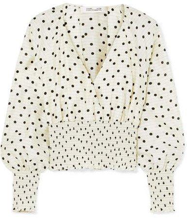 Shirred Polka-dot Silk Top - White