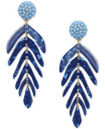 INC International Concepts Gold-Tone Beaded Cluster & Shaky Palm Leaf Statement Earrings, Created for Macy's & Reviews - Earrings - Jewelry & Watches - Macy's