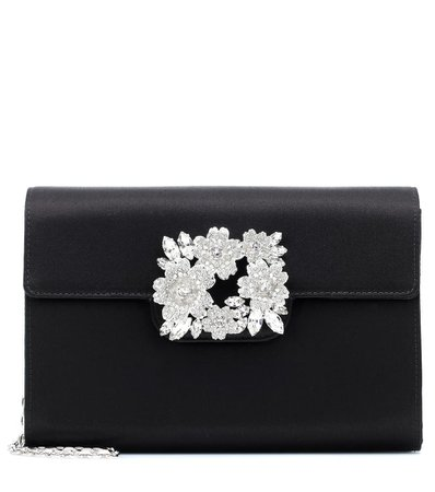 ROGER VIVIER RV Bouquet embellished satin clutch
