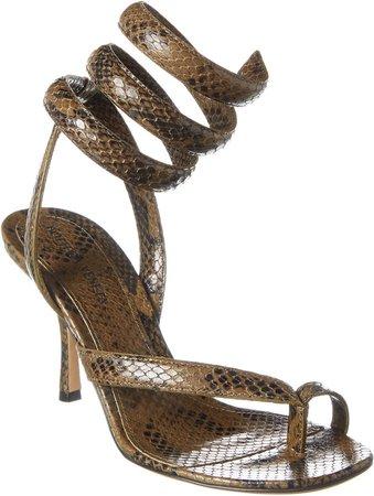 Spiral Ankle Strap Snake-Embossed Leather Sandal