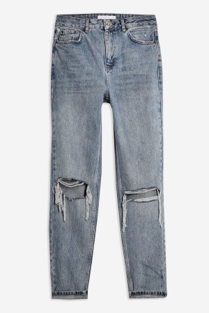 Grey Cast Double Rip Mom Jeans | Topshop