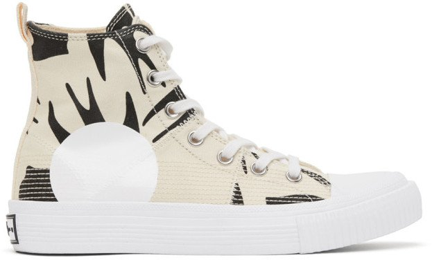 Off-White and Black Plimsoll High Top Sneakers