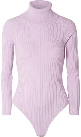 L.F.Markey - Axel Ribbed Stretch-cotton Jersey Turtleneck Bodysuit - Lilac