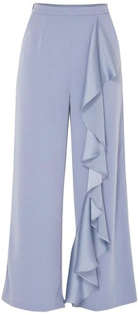PAISIE - Wide Leg Trousers With Ruffle Panel In Blue