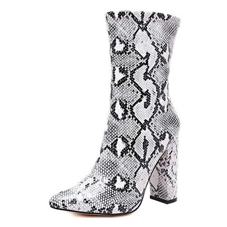 Amazon.com: Stupmary Women's Boots Pointed Toe Ankle Bootie Plaid Print Chunky Heels Winter Boots: Shoes