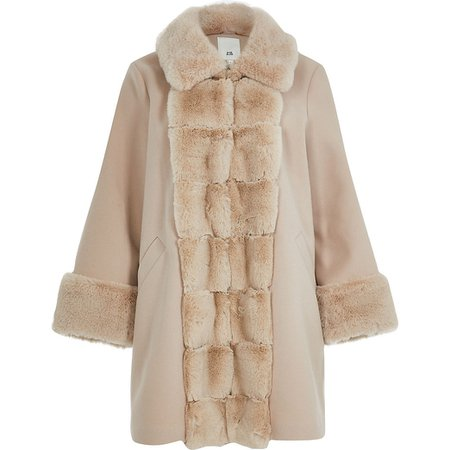 Pink faux fur panelled swing coat | River Island