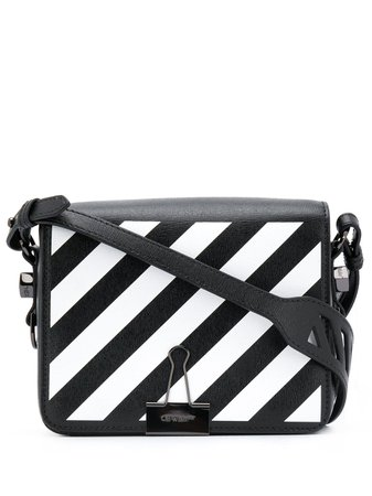 Off-White diagonal-stripe Binder-Clip Shoulder Bag - Farfetch