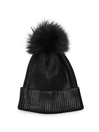 Adrienne Landau Fox Fur Pom-Pom Metallic Beanie on SALE | Saks OFF 5TH
