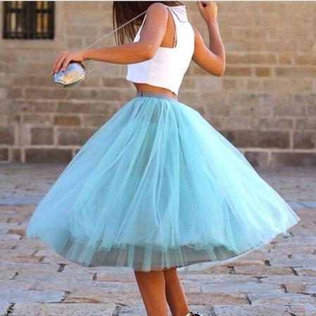 blue poofy skirt