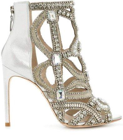 rhinestone embellished open toe sandals