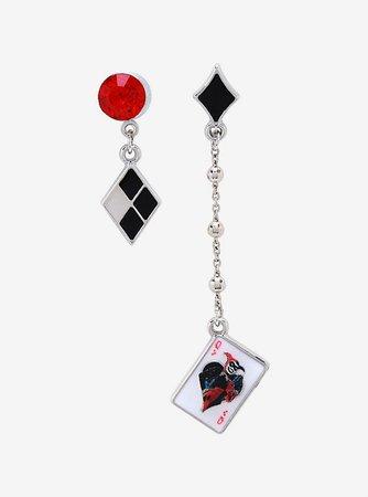 DC Comics Harley Quinn Mismatch Diamond Card Earrings