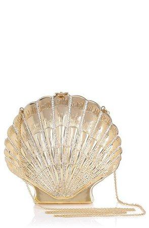 bag, shell purse, shell, shell bag, gold clutch, mermaid, chain bag - Wheretoget