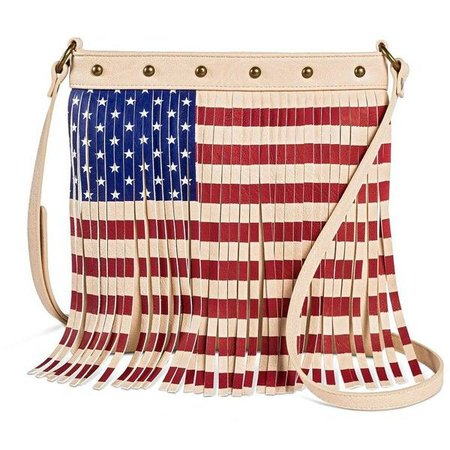 Twig & Arrow Women's American Flag Fringe Crossbody Handbag