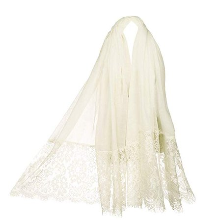 Women Fashion Scarf Wrap Shawl, RiscaWin Autumn Soft Lightweight Lace Scarves Wrap Warm Scarf(Cream) at Amazon Women's Clothing store