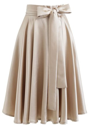 Flare Hem Bowknot Waist Midi Skirt in Gold - Retro, Indie and Unique Fashion