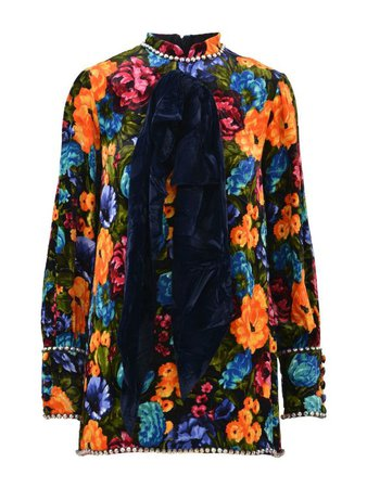 GUCCI Pictorial Flowers Velvet Dress With Bow in Multicolour