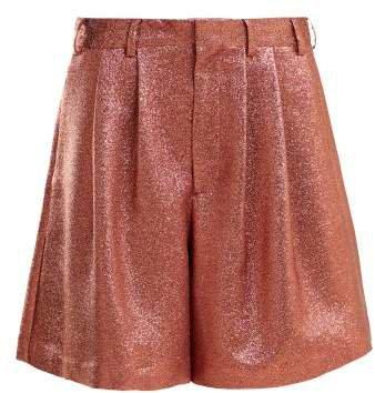 Tinsel Metallic Silk Blend Shorts - Womens - Pink