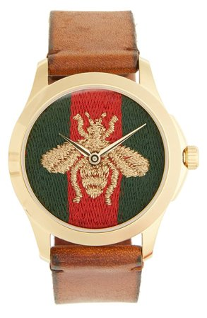 Gucci Bee Insignia Leather Strap Watch, 43mm | Nordstrom