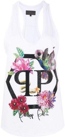 embellished floral tank top