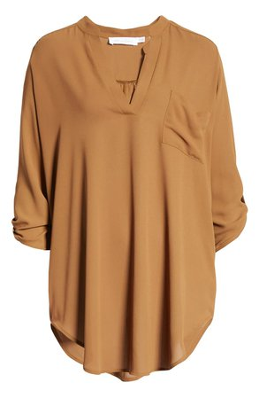 All in Favor Perfect Henley Tunic camel