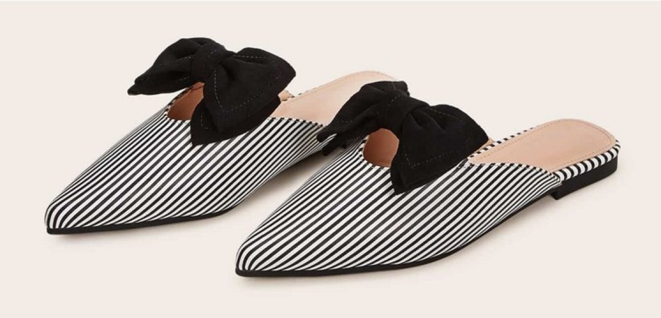 Striped Bow Decor Point Toe Flat Mules