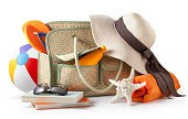 Summer Bag Hat And Sunglasses Stock Photo & More Pictures of Suntan Lotion - iStock
