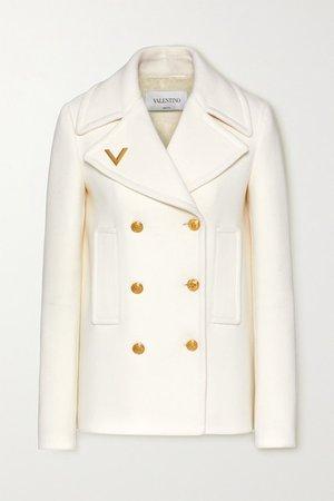 Embellished Double-breasted Wool Coat - Ivory