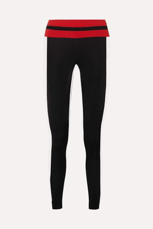 Faye Thermal Tuxedo Striped Stretch Leggings - Black