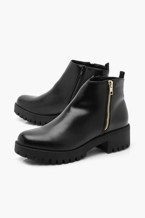 Zip side Cleated Sole Chelsea Boots | Boohoo