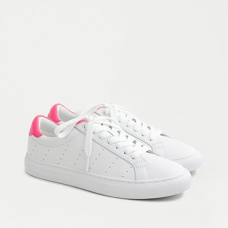 J.Crew: Saturday Sneakers In Leather With Fuchsia Detail For Women