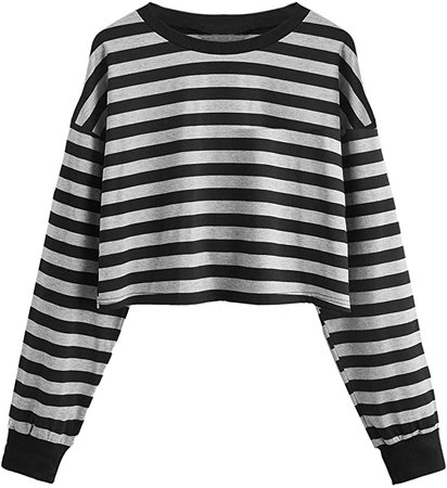 SweatyRocks Women's Casual Long Sleeve Striped Cropped T-Shirt Casual Crop Tee Top at Amazon Women's Clothing store