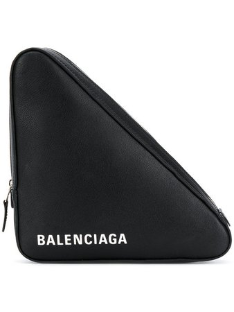 Balenciaga Black Triangle Medium Leather Clutch