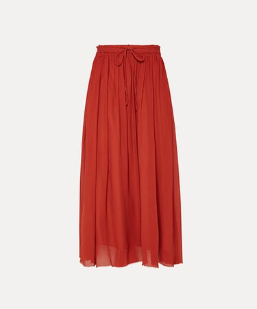 Skirt in silk crépon with drawstring waist | forte_forte