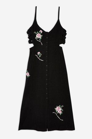 Embroidered Lattice Side Slip Dress - Topshop USA