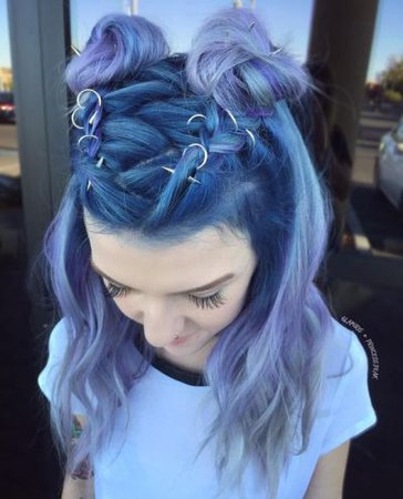 Blue Ombre Space Buns
