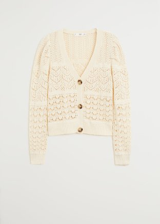 Openwork cotton cardigan - Women | Mango USA cream