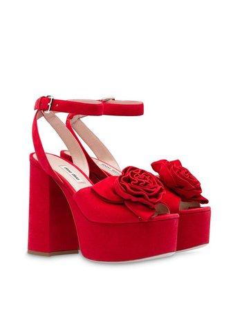 Miu Miu Rose Appliqué Platform Sandals | Farfetch.com